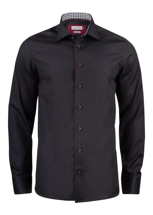 J. Harvest & Frost Red Bow 20 Regular Fit Overhemd Zwart Met Rood Geblokte Kraag