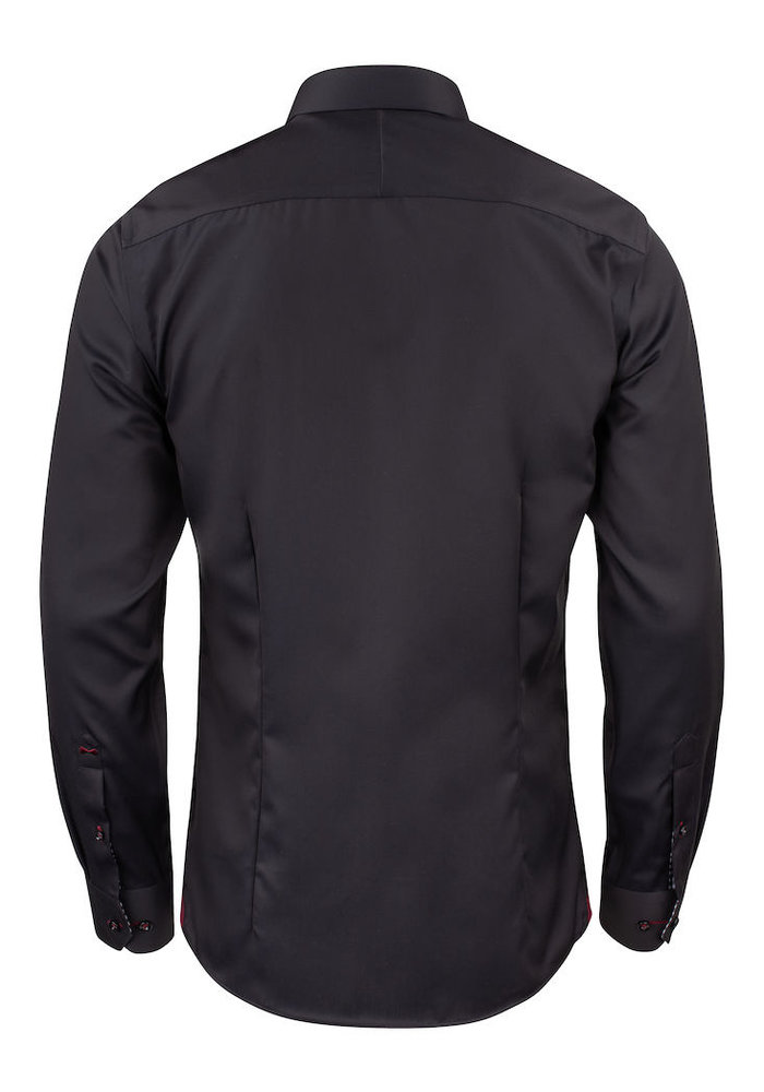Red Bow 20 Regular Fit Overhemd Zwart Met Rood Geblokte Kraag