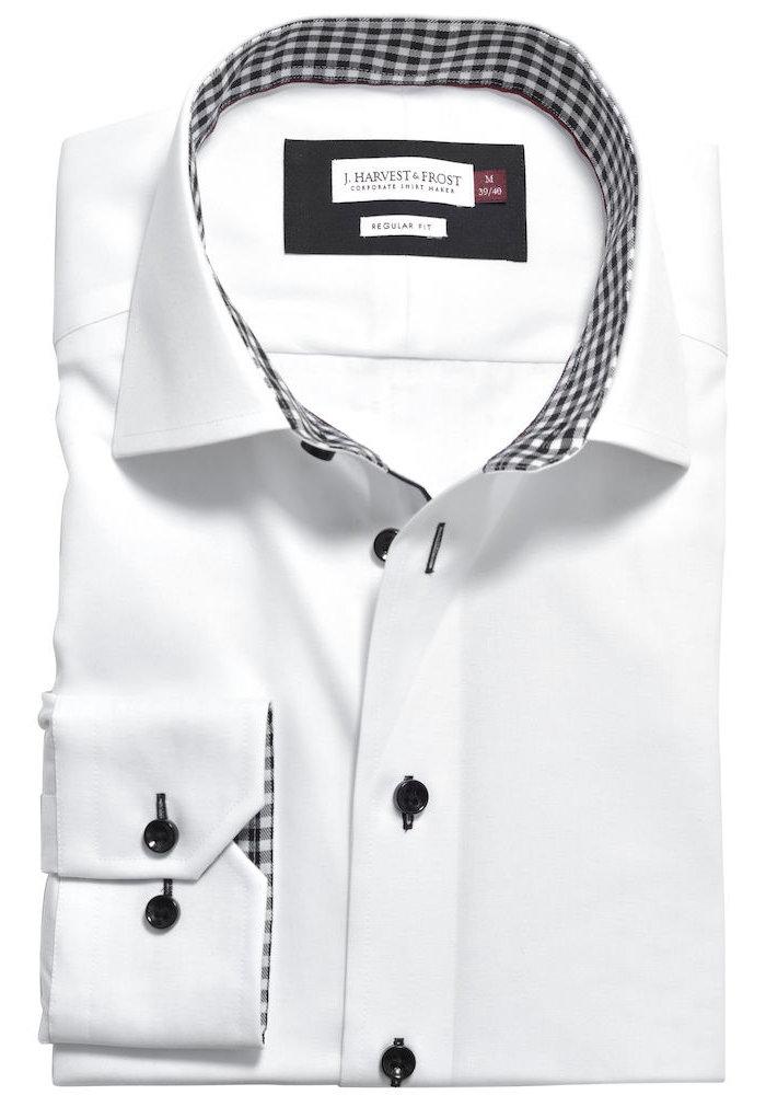 Red Bow 20 Slim Fit Overhemd Wit Met Zwart Geblokte Kraag