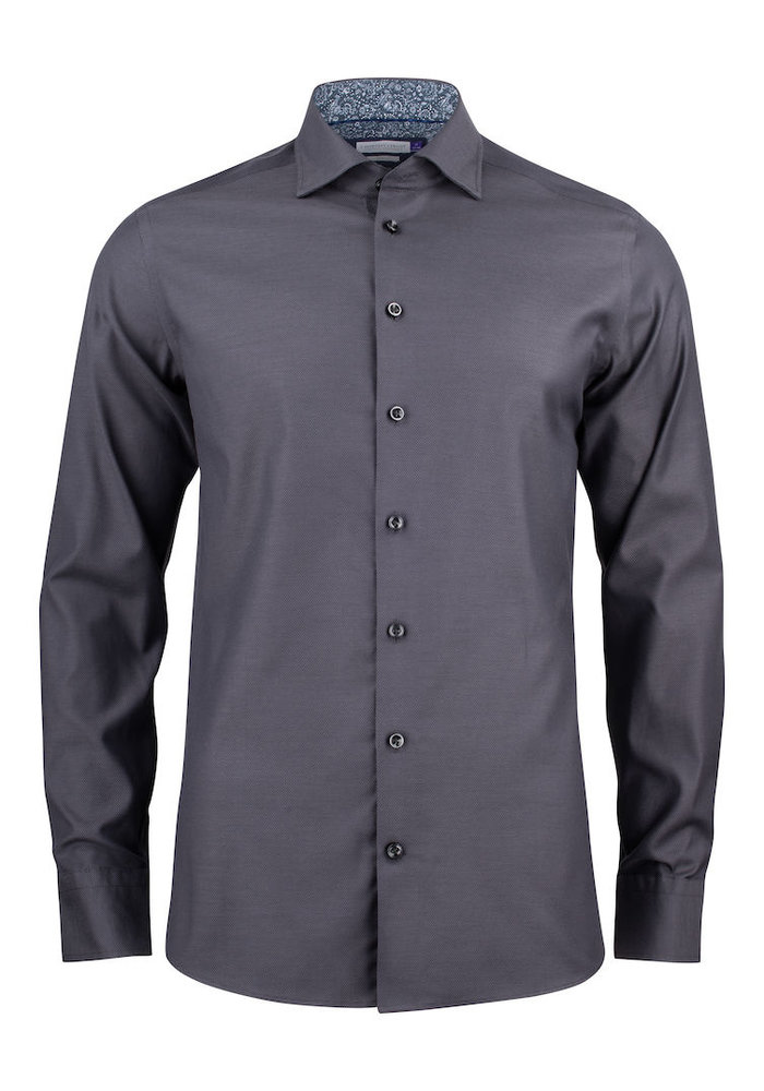 Purple Bow 142 Slim Fit Overhemd Grijs