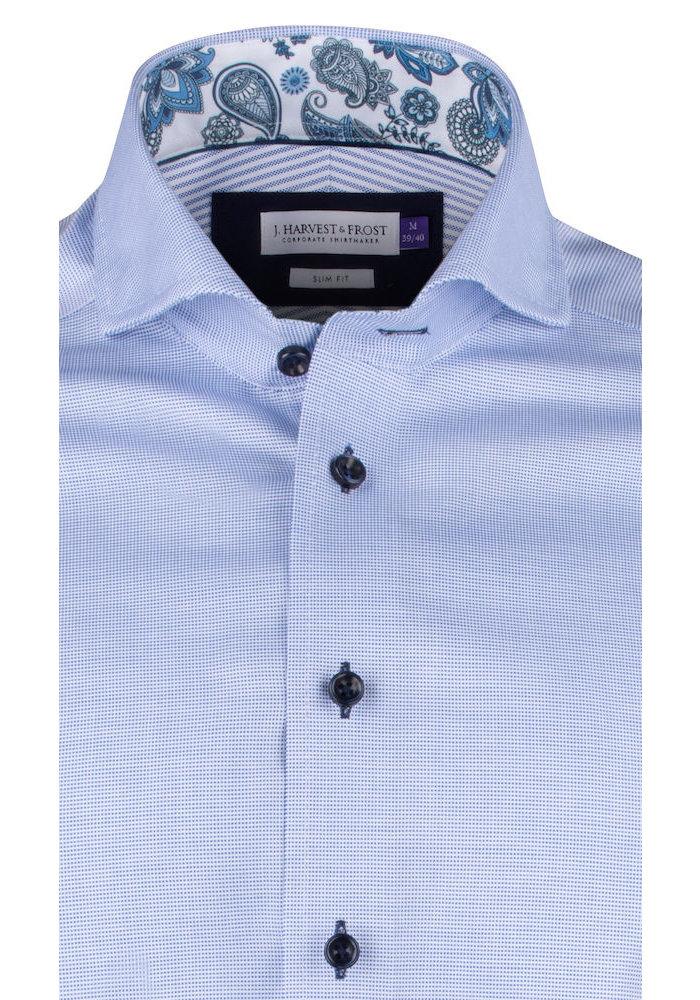 Purple Bow 145 Slim Fit Overhemd Mid Blue