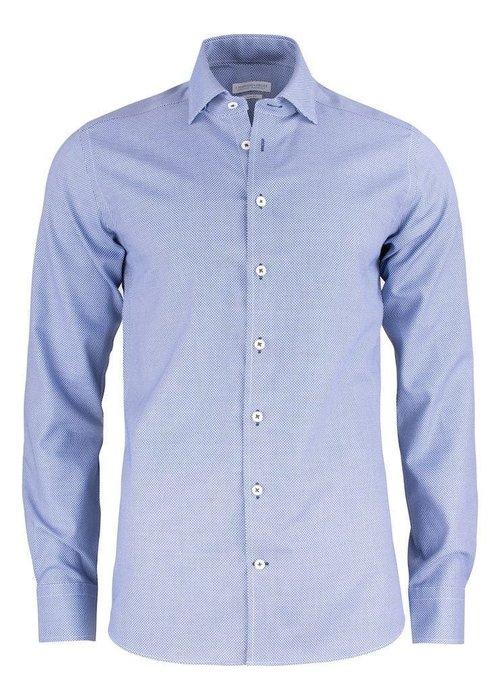 J. Harvest & Frost Purple Bow 48 Slim Fit Overhemd Blauw Met Wit Accent