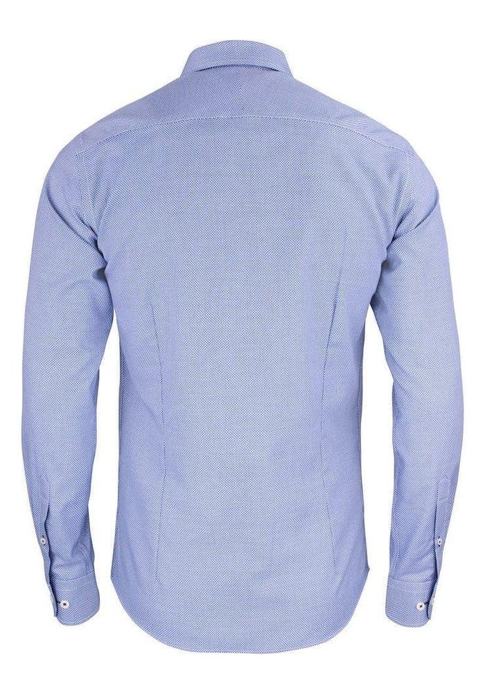 Purple Bow 48 Slim Fit Overhemd Blauw Met Wit Accent