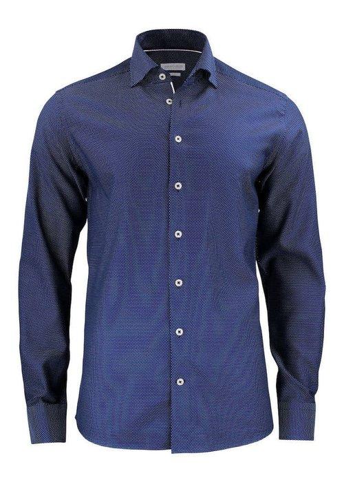 J. Harvest & Frost Purple Bow 49 Slim Fit Overhemd Navy/Wit
