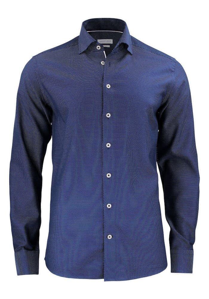 Purple Bow 49 Slim Fit Overhemd Navy/Wit