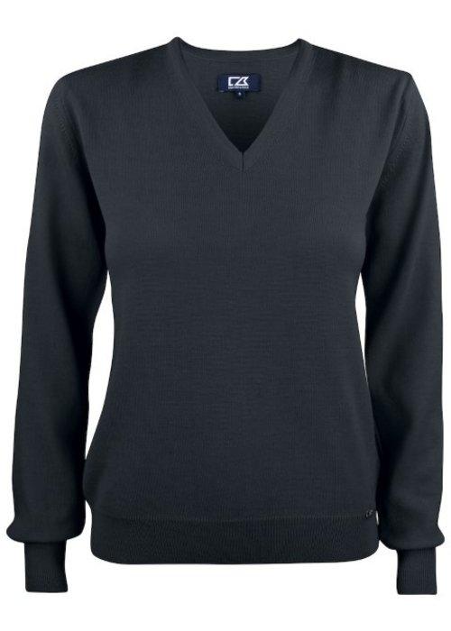Cutter & Buck Dames Pullover met V-hals Zwart Everett
