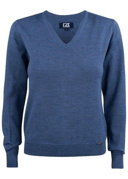 Cutter & Buck Dames Pullover met V-hals Blauw Everett