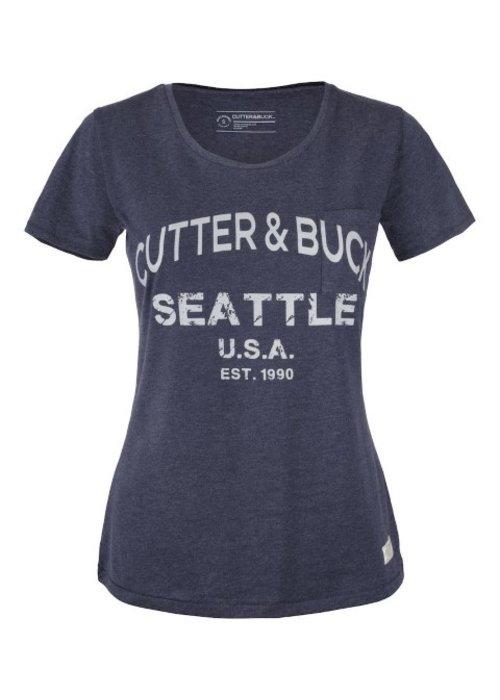 Cutter & Buck Pacific City Dames Denim T-shirt Met Opdruk