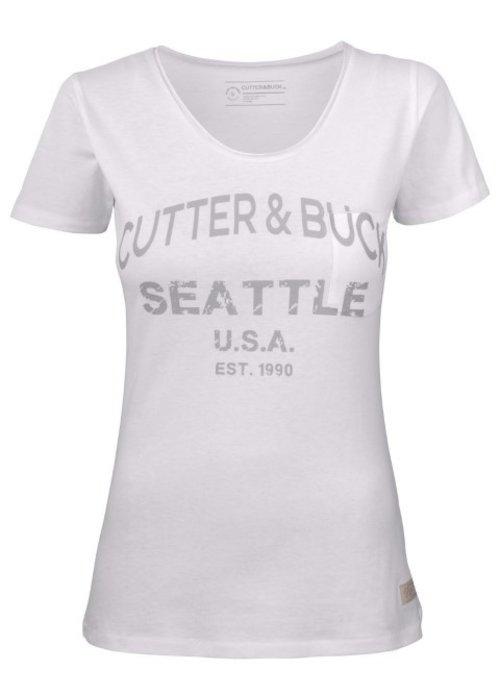 Cutter & Buck Pacific City Dames Wit T-shirt Met Opdruk