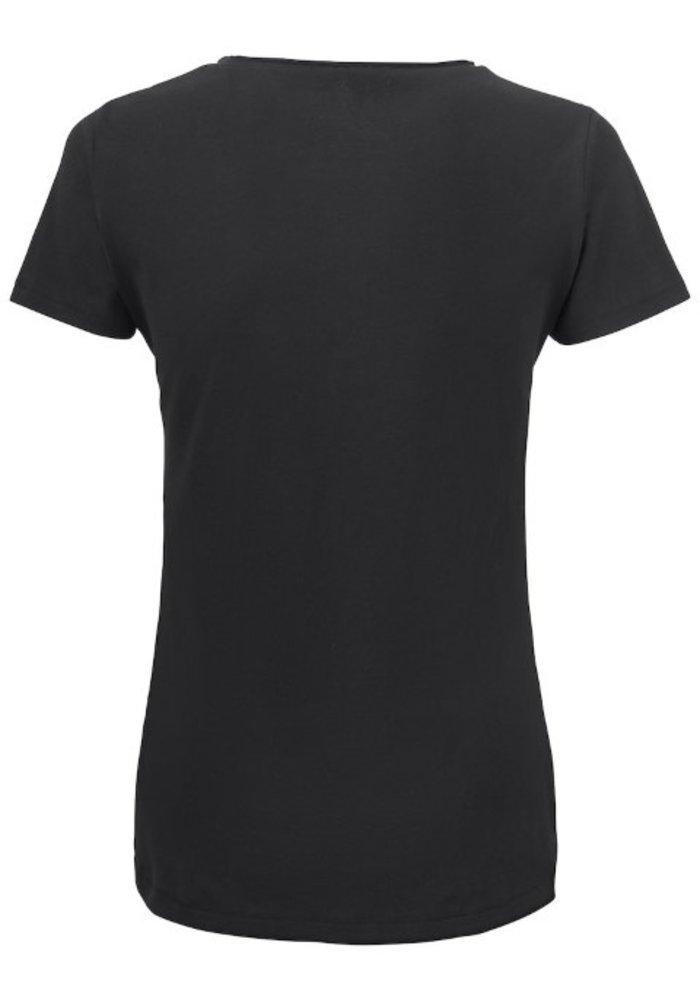 Pacific City Dames Zwart T-shirt Zonder Opdruk