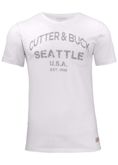 Cutter & Buck Pacific City Heren Wit T-shirt Met Opdruk