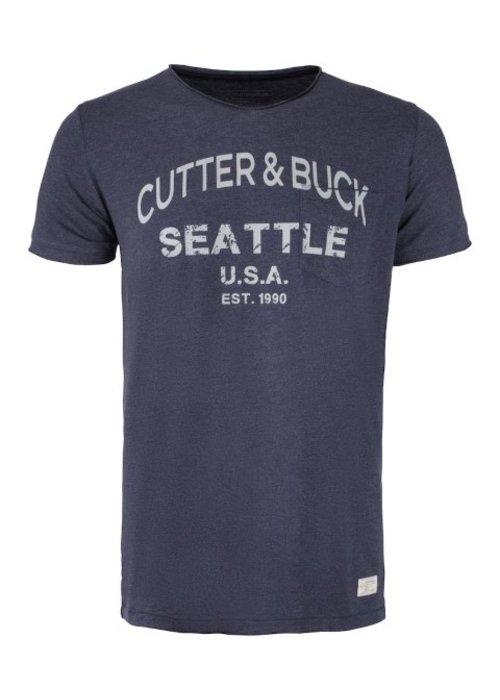 Cutter & Buck Pacific City Heren Denim T-shirt Met Opdruk