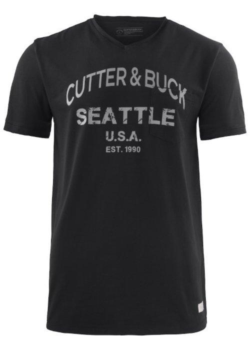 Cutter & Buck Pacific City Heren Zwart T-shirt Met Opdruk