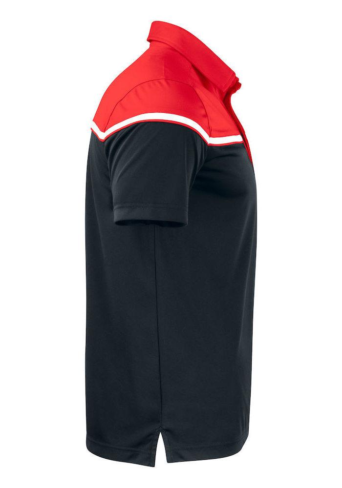 Seabeck Heren Polo Zwart/Rood