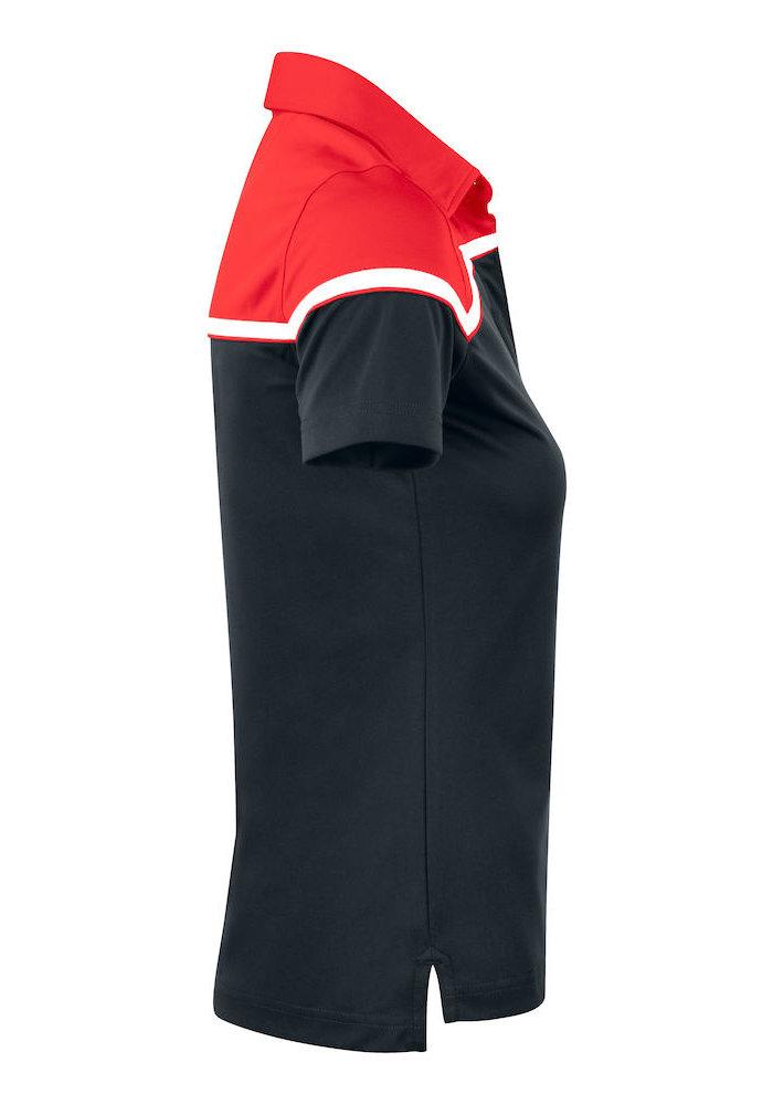 Seabeck Dames Polo Zwart/Rood