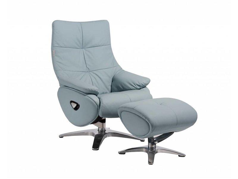 Relaxstoel Met Hocker.Alpha 158 Relaxfauteuil Met Hocker In Leder Lederlook Baby Blauw