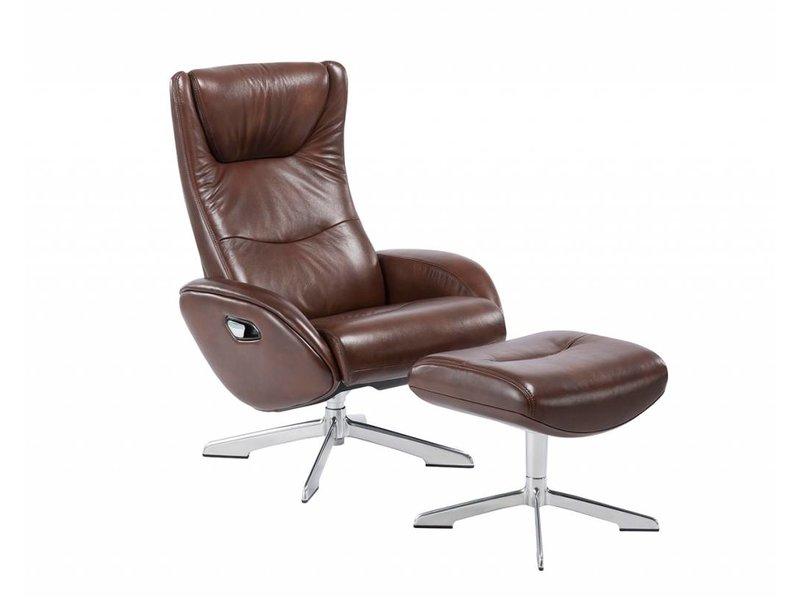 Relaxstoel Met Hocker.Maya 207 Relaxfauteuil Met Hocker In Leder Lederlook Bruin