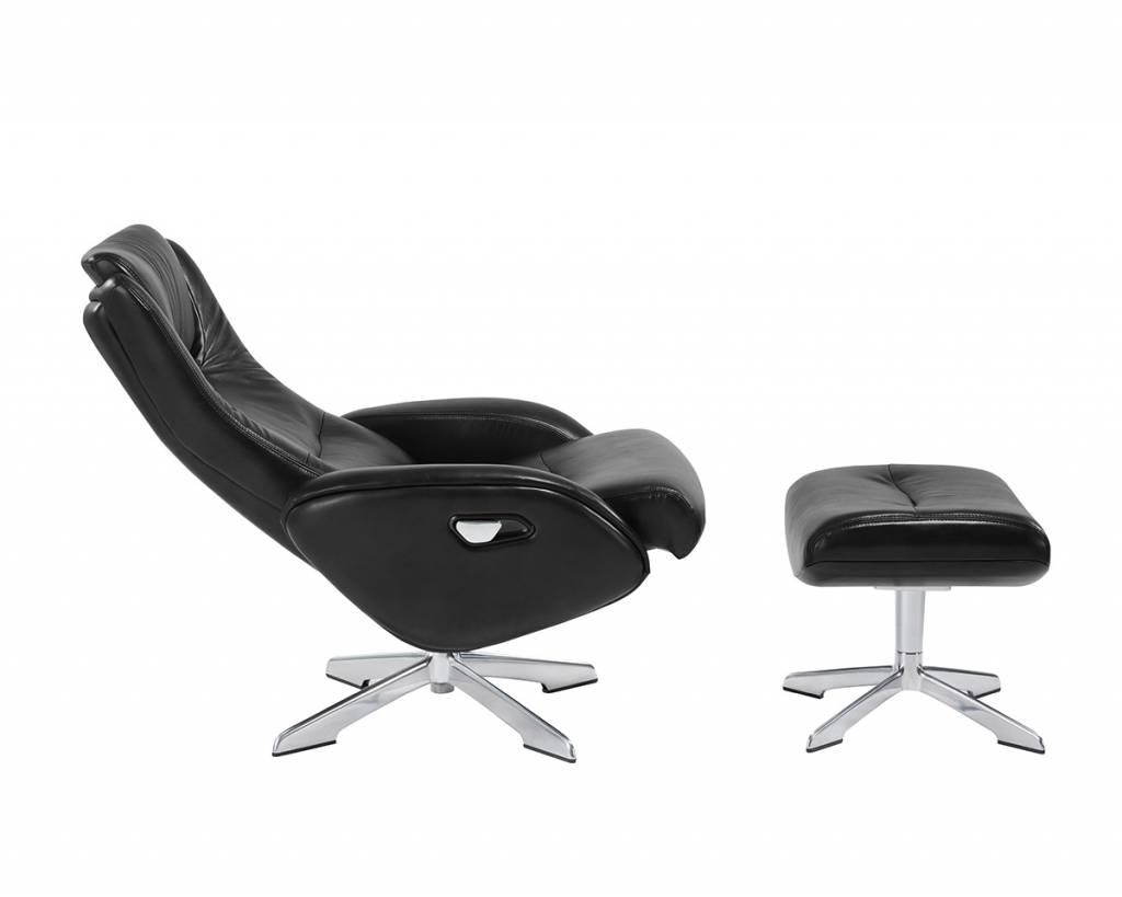 Relaxstoel Met Hocker.Maya 207 Relaxfauteuil Met Hocker In Leder Lederlook Zwart