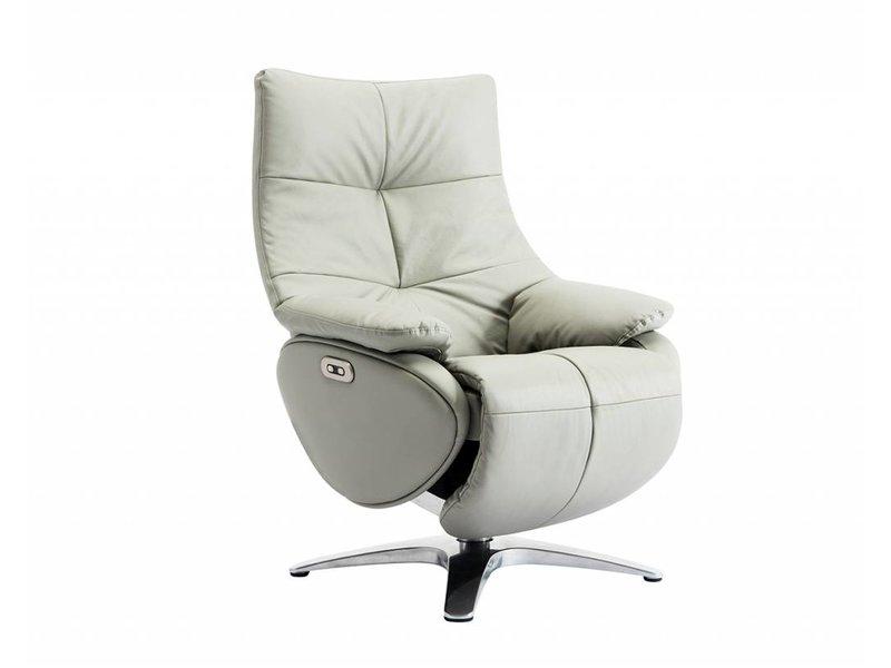 Relaxfauteuil Leder Elektrisch.Alpha 158d Elektrische Relaxfauteuil In Leder Lederlook Grijs Sedersi