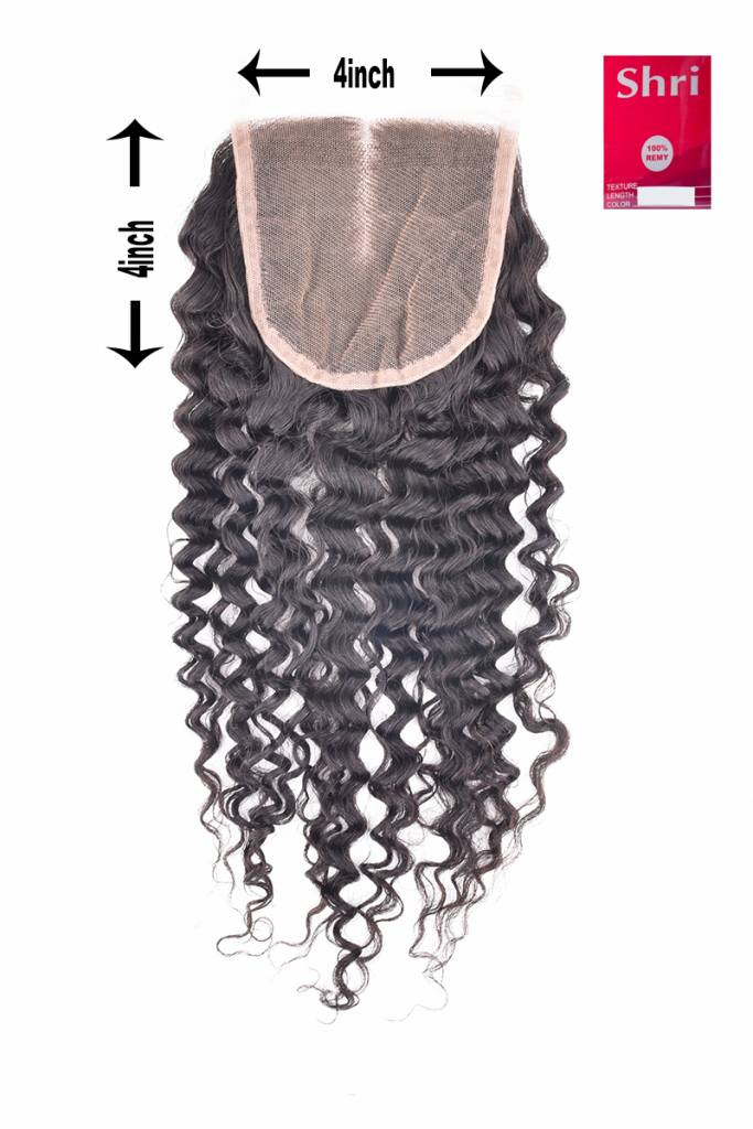 SHRI Indian (Shri) Human Hair Closure, 14 inch (Jerry Curl)