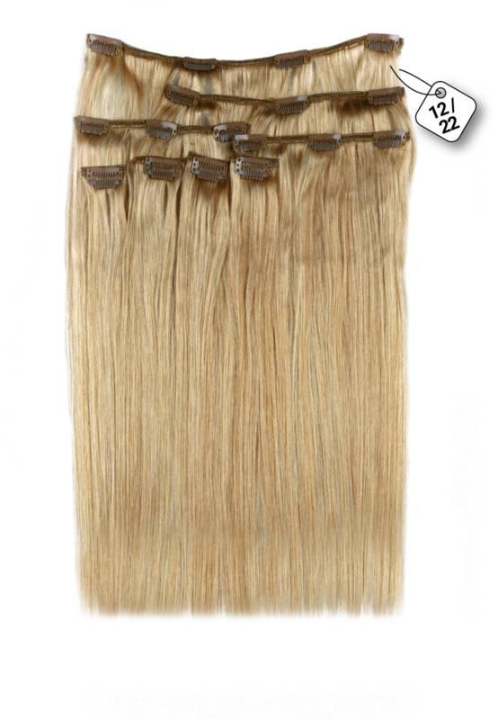 Clip in Extensions (Steil) kleur #12/22, Ash Blonde/ Hollywood Blonde