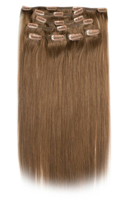 Clip in Extensions (Steil), kleur #6/9, Dark Golden Brown