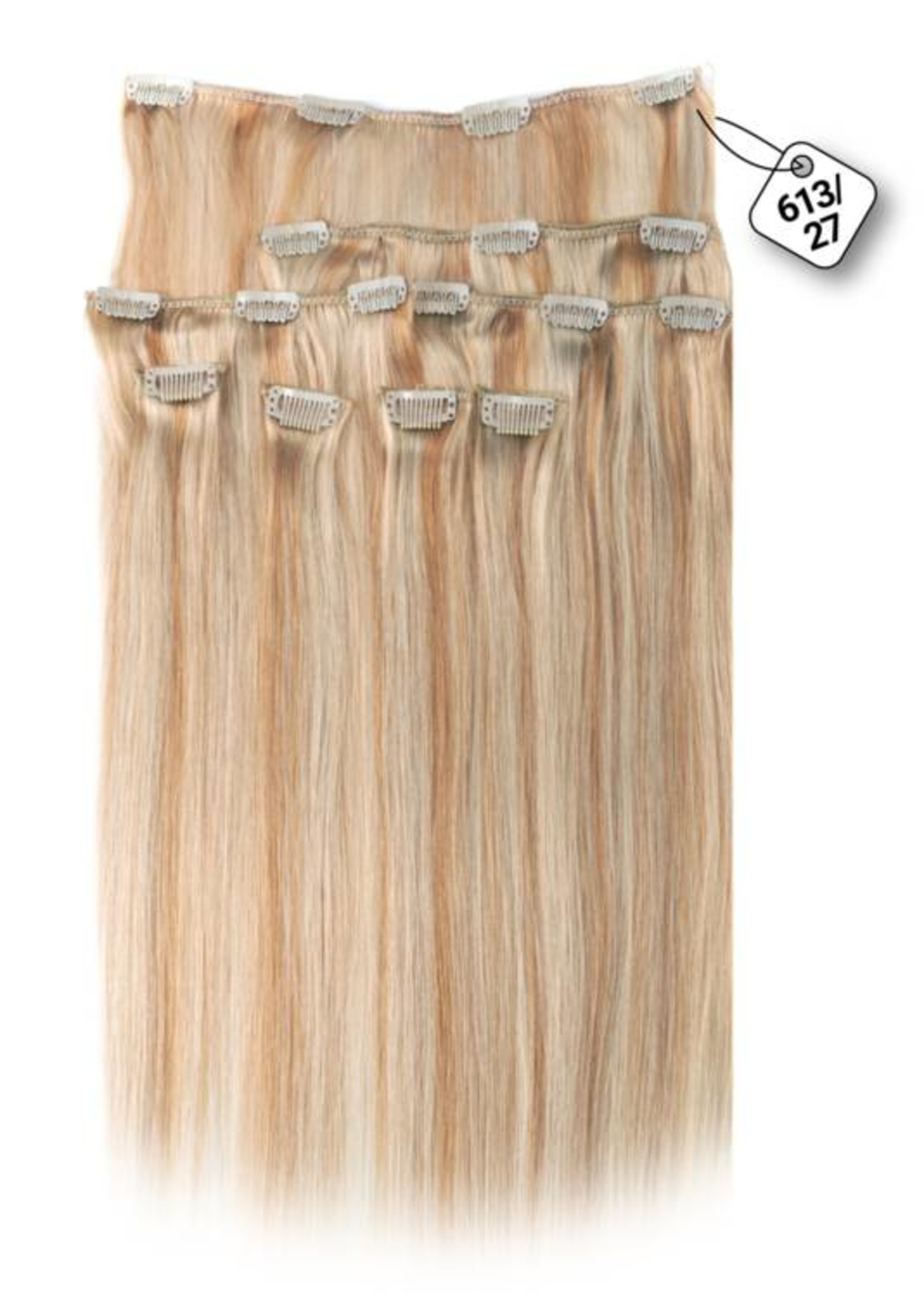 Clip in Extensions (Steil), kleur #613/27, Light Blonde/ Dark Blonde