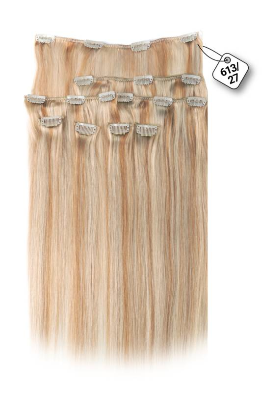 Clip in Extensions (Steil), kleur #613/27, Light Blonde/ Dark Blonde
