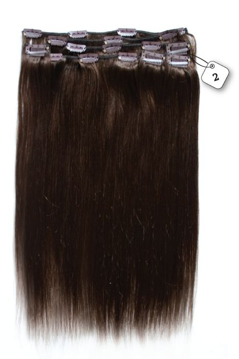 Clip in Extensions (Steil), kleur #2 Deep Dark Brown