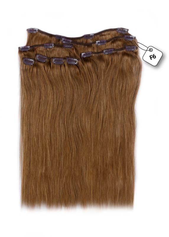 Clip in Extensions (Steil), kleur #F6 Chestnut Brown