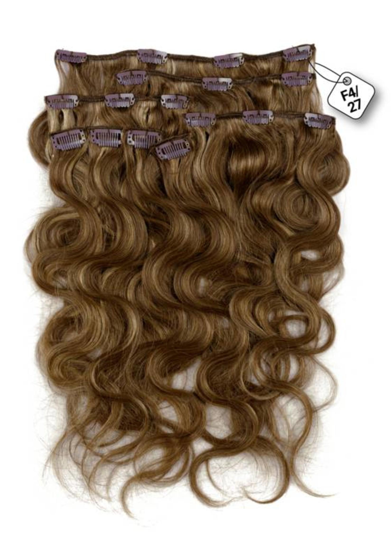 Clip in Extensions (Body Wave), kleur #4/27, Chocolate Brown/ Dark Blonde