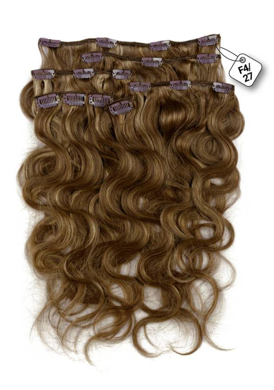 Clip in Extensions (Body Wave), kleur #4/27, Chocolate Brown/ Dark Blonde