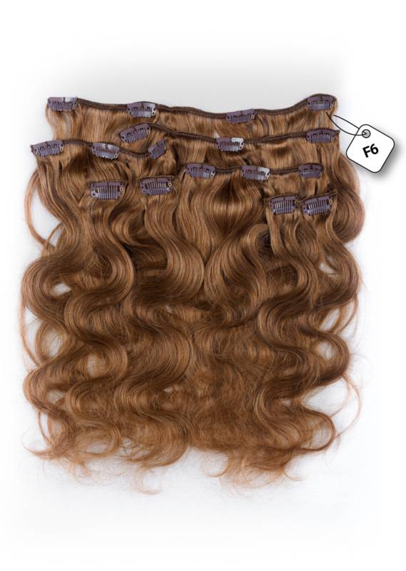 Clip in Extensions (Body Wave), kleur #F6 Chestnut Brown