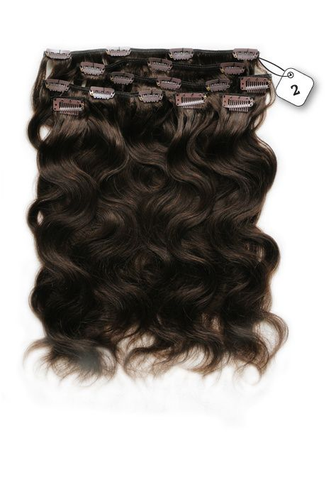 Clip in Extensions (Body Wave), kleur #2 Deep Dark Brown