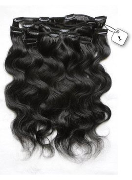 Clip in Extensions (Body Wave), kleur #1 Jetblack