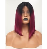 Human Hair Front Lace Wig -  (Long Bob) Ombre