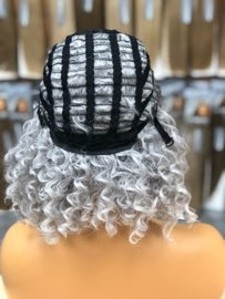 Synthetische Wig Roots/ Grey Curly - Blac