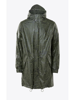 Rains Long Quilted Parka Oil Camo Raincoat