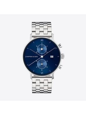 Kapten and Son Chrono Silver Blue Steel Watch