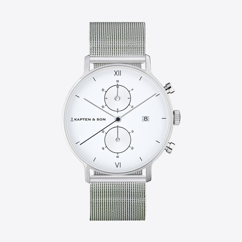 Kapten and Son Chrono Silver Mesh Horloge