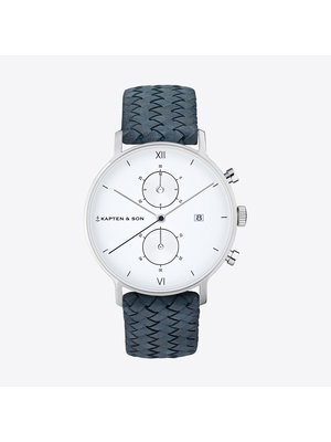 Kapten and Son Chrono Silver Light Blue Woven Leather Horloge