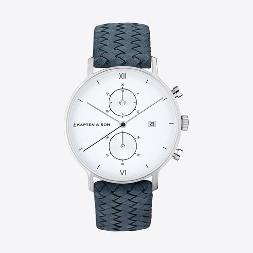 Kapten and Son Chrono Light Blue Woven Leather