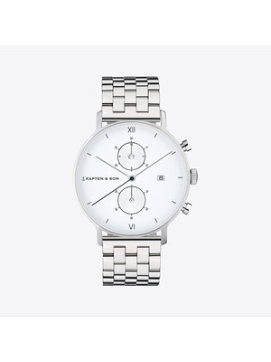 Kapten and Son Chrono Small Silver Steel Horloge