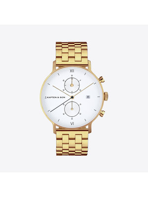 Kapten and Son Chrono Small Gold Steel Horloge
