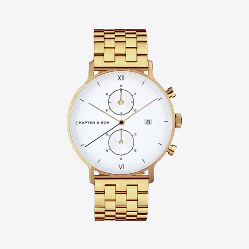 Kapten and Son Chrono Small Gold Steel