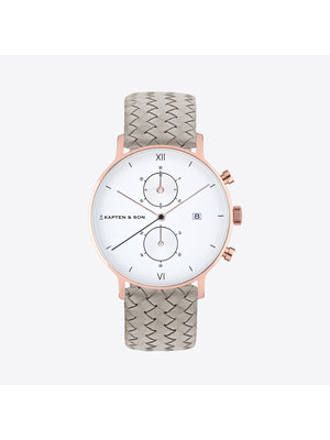 Kapten and Son Chrono Small Grey Woven Leather Horloge