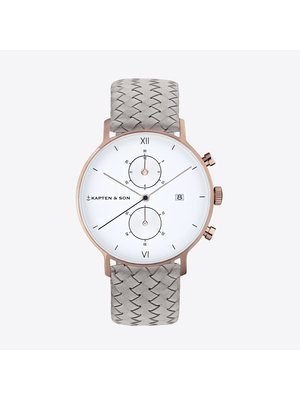 Kapten and Son Chrono Grey Woven Leather Watch