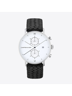 Kapten and Son Chrono Silver Black Woven Leather Horloge