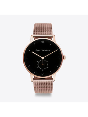 Kapten and Son Heritage Black Mesh Horloge