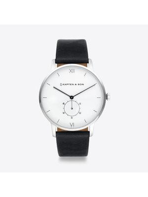 Kapten and Son Heritage Silver Black Leather Horloge